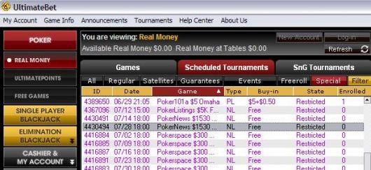Lístek na 0K GTD a 00 Cash na UltimateBetu 101