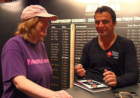 "Joe Hachem chats with Kathy Liebert after autographing a copy of his new biography, ""Pass the Sugar"""