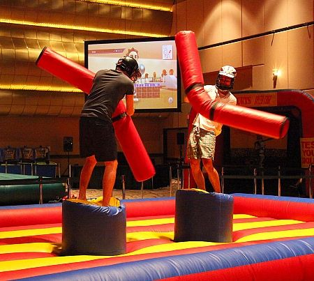 Jousting action in the arcade area