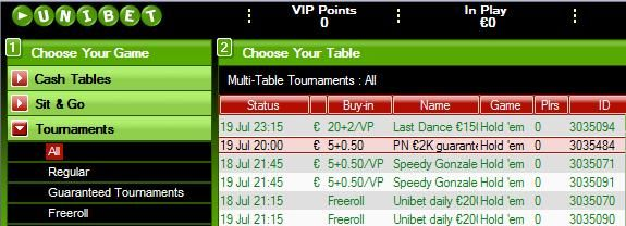 EUR2,000 Guaranteed Tournament at Unibet every week!