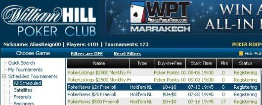 威廉希尔扑克室2000美元免费比赛和10万美元比赛门票等待争夺 101