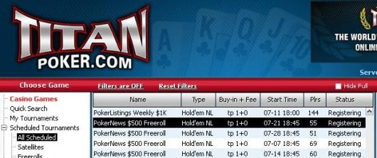 0 Cash Freerolls Exclusivos Regressam à Titan Poker 101