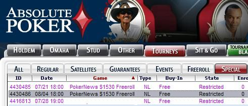 $1,530 Freeroll on Absolute Poker - Exclusive to PokerNews