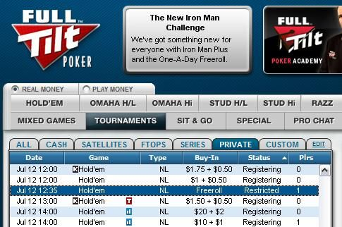 Full Tilt Poker 0 freeroll program 101