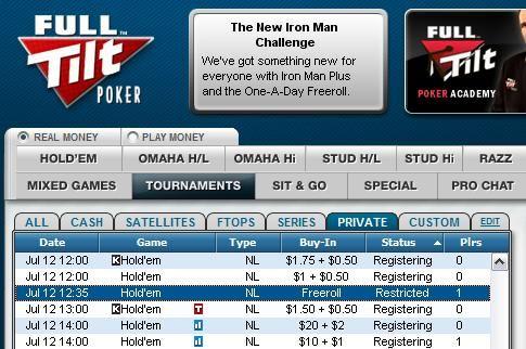 Skjema for Full Tilt Poker 0 Cash Freeroll 101