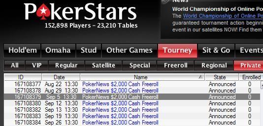 PokerNews $2k Freerolls on PokerStars - 5, 12, 13, 19, 26 September