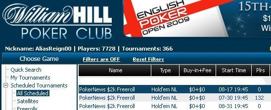 Unbelievable cash prizes await at William Hill - NO points/rake requirements!