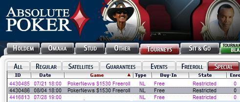 Absolute Poker1530美元免费比赛---现金和门票奖励 101