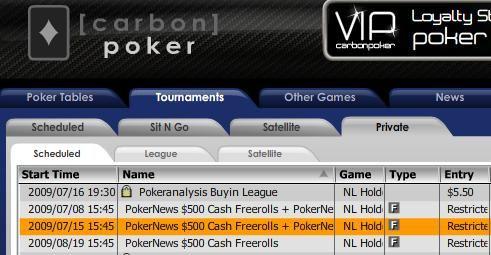 PokerNewsi 0 freerollid Carbonis, võitjale pääse PokerNews Cupi kvalifikatsioonile! 101