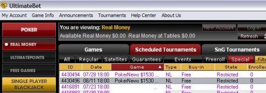 去UltimateBet争夺20万美元保证金比赛的门票和现金奖励 101
