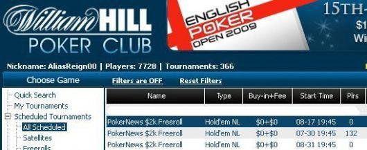 ,000 em Dinheiro e Tickets 0K GTD em Jogo na William Hill e CD Poker 101