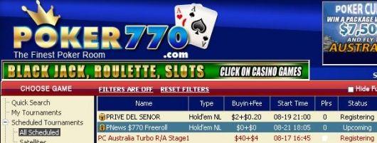 """""""扑克770""""770美元现金比赛 101"""