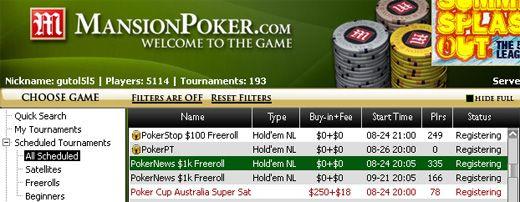,000 PokerNews Cash Freeroll na Mansion Poker – HOJE! 101