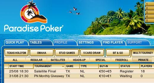 The PokerNews Monthly Giveaway at Paradise Poker.