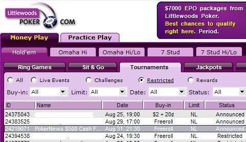 Littlewoods $500 Freeroll - Qualify for the $7k EPO package!