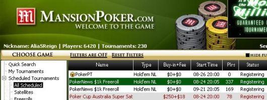今天在Mansion Poker的1000美元免费比赛--没有最低存款要求! 101