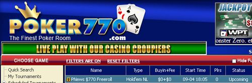 Série de 0 Cash Freerolls na Poker770 101