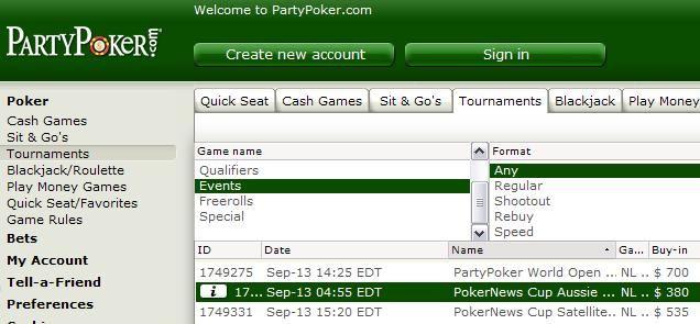 PartyPoker PokerNews Cup Satellite Series