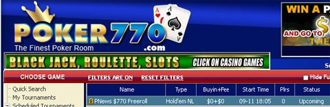0 Cash Freerolls na Poker770 101