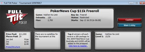 Hoje na FullTilt Poker ,000 PokerNews Qualifier Freeroll 101