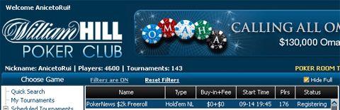 Hoje às 19:45 ,000 em Dinheiro e Tickets 0K GTD em Jogo na William Hill e CD Poker 101