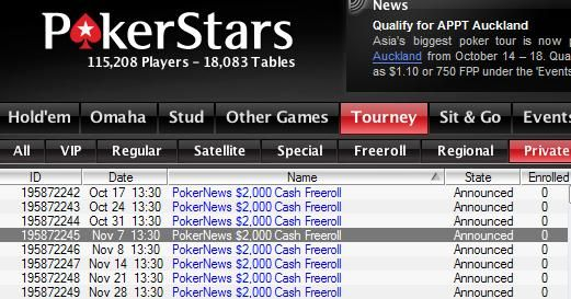 Qualify for all $2,000 Cash Freerolls at PokerStars today!
