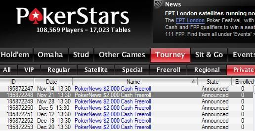 $2,000 Cash Freerolls at PokerStars
