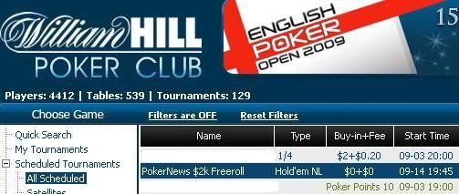William Hill & CD Poker9月份的2000美圆免费比赛 101