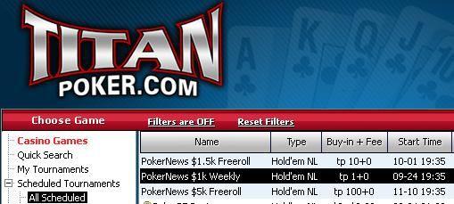 PokerNews $1k Freerolls now at Titan Poker