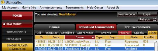 Hoje 23:05 GMT ,215 Freeroll Series na UltimateBet 101