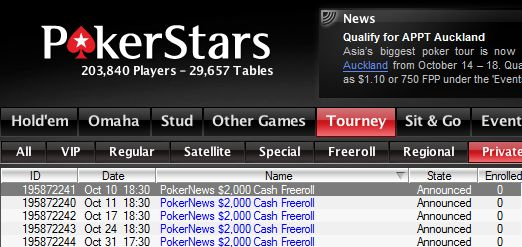 Hoje às 17:30 ,000 Cash Freerolls na PokerStars 101