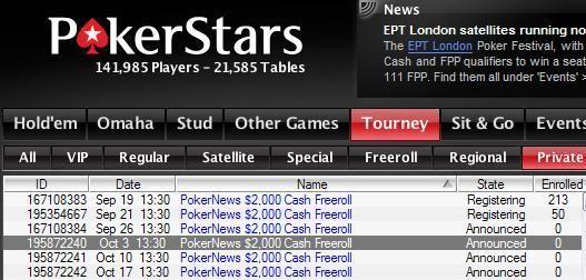 Los freerolls de Pokerstars de 2.000$ en cash se extienden hasta Diciembre 101