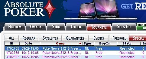 ¡Los freerolls de Absolute Poker, con 1.215$ en premios, ya están aquí! 101