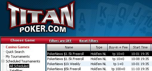 Cash & Entry to Monthly Million Tournament at Titan Poker!
