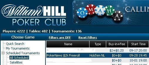William Hill和 CD Poker 2000$和10万美圆保证金比赛的门票! 101
