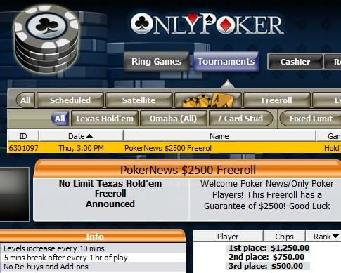 Hoje às 22:00 ,500 PokerNews Cash Freeroll na OnlyPoker 101