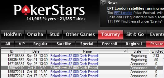 Järgmine PokerStarsi 2K cash-freeroll toimub homme 101