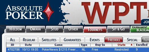 Hoje às 00:05 PokerNews 15 Freeroll na Absolute Poker 101