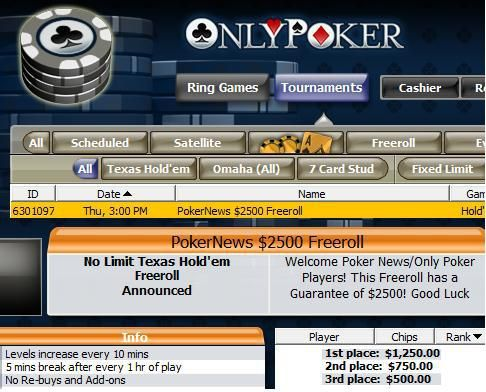 .000 Cash Freerolls από το OnlyPoker! 101