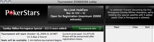 Hoje às 21:30 a PokerStars Oferece 5 Entradas no Sunday Million em Honra de... 101