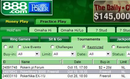 Hoje às 19:35 0 PokerNews Cash Freeroll - 888 Poker 101