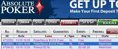 PokerNews Exclusive Tourneys at Absolute Poker
