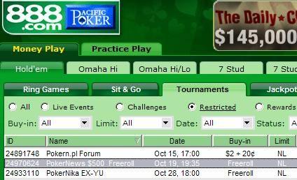 Serie de freerolls de 500$ en premios de 888 Poker 101