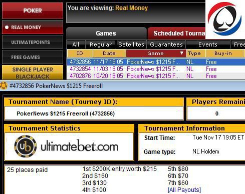 UltimateBet lobby - $1,000 CASH + $200k GTD billett