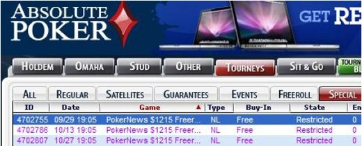 ,215 PokerNews Cash Freerolls na Absolute Poker 101