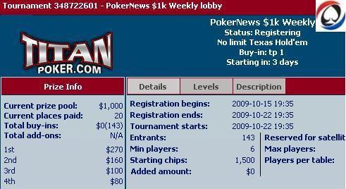 ,000 Μετρητά Freeroll Σειρά Τώρα στο Titan Poker 101