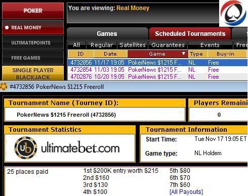 ,215 exkluzív PokerNews/UltimateBet Freerollok 101