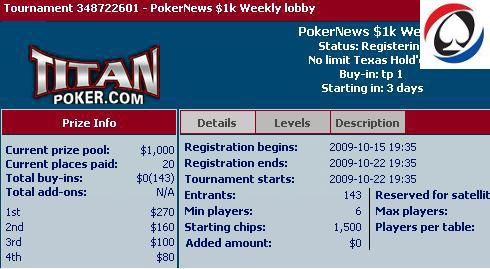 Titan Poker lobby - $1000 veckofreeroll