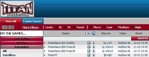 PokerNews Exclusive Freerolls at Titan Poker