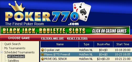 Freeroll de 770$ en premios en efectivo en Poker770 101